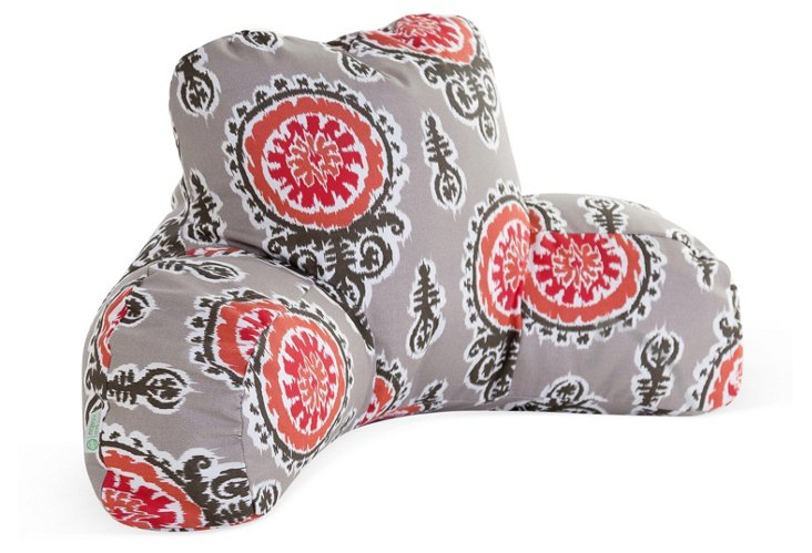 Ikat Outdoor Boyfriend Pillow, Salmon