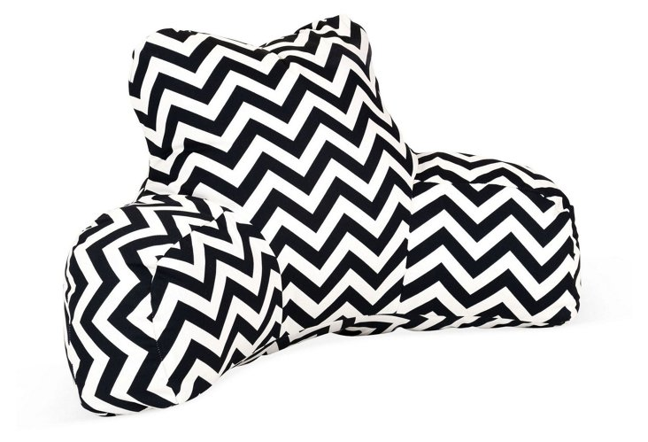 Chevron Outdoor Boyfriend Pillow, Black