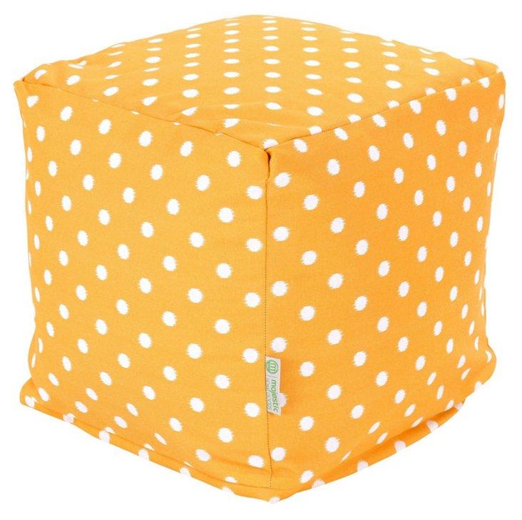 Polka Dot Outdoor Cube, Yellow