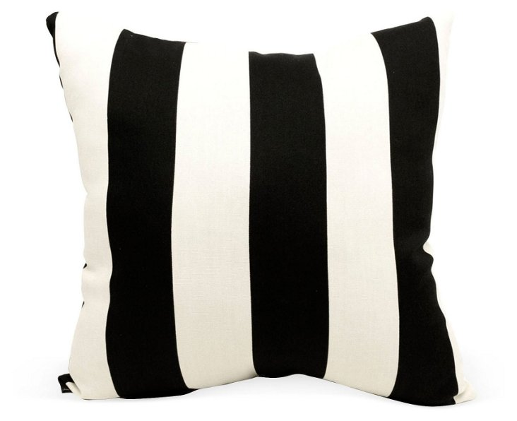 Striped 20x20 Outdoor Pillow, Black