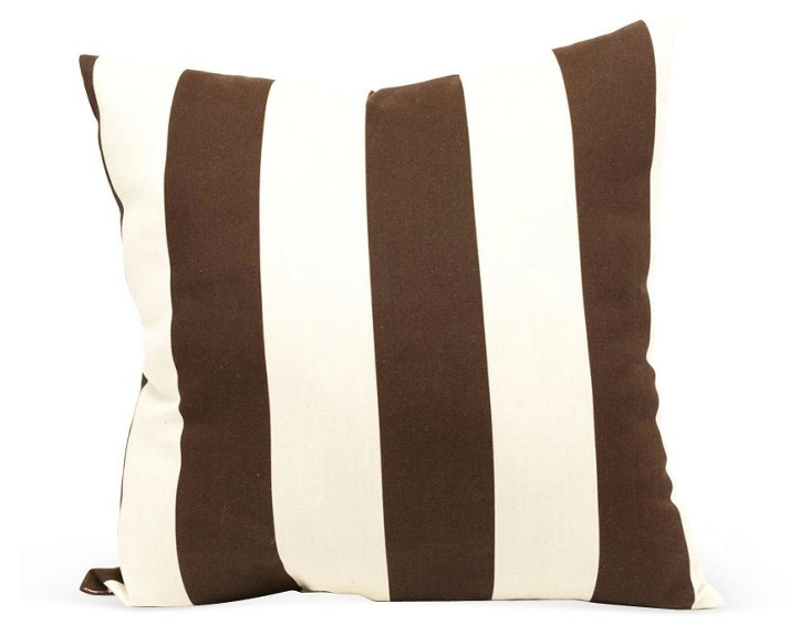 Striped 20x20 Outdoor Pillow, Brown