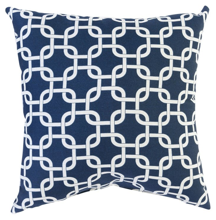 Links 20x20 Cotton-Blended Pillow, Navy