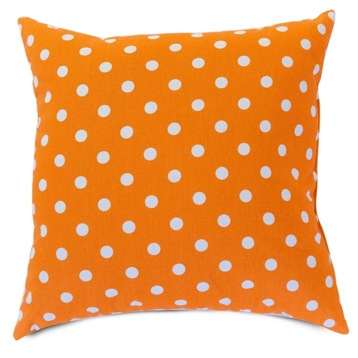 Polka Dot 20x20 Pillow, Tangerine