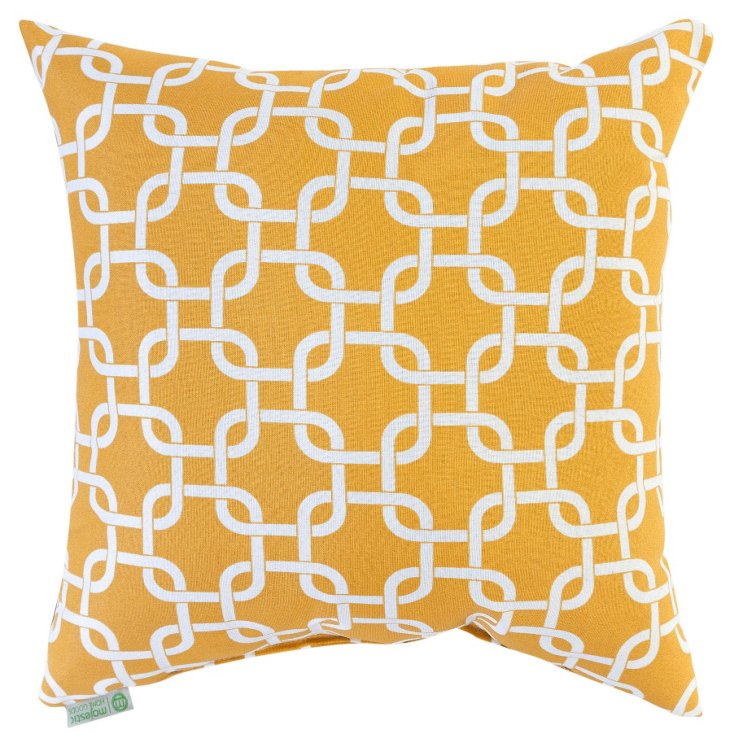 Links 20x20 Outdoor Pillow, Yellow