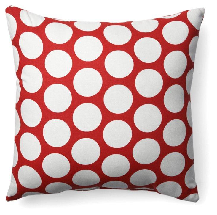 Polka Dot 20x20 Pillow, Red