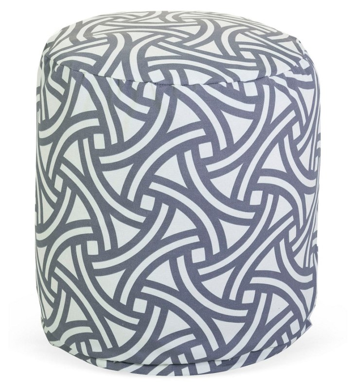 Santorini Weave Outdoor Pouf, Clay