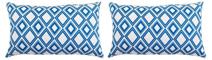 Tiles 12x20 Outdoor Pillow, Blue