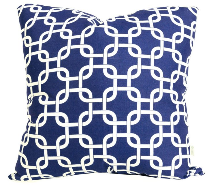 Links 20x20 Outdoor Pillow, Blue