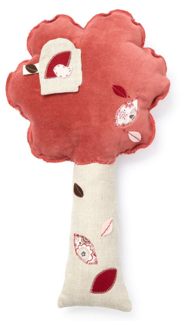 Premium Plush Tree Pillow, Red/Turquoise
