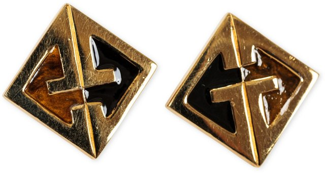 1970s Givenchy Logo Cufflinks