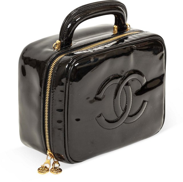 Chanel Black Patent Leather Vanity Case