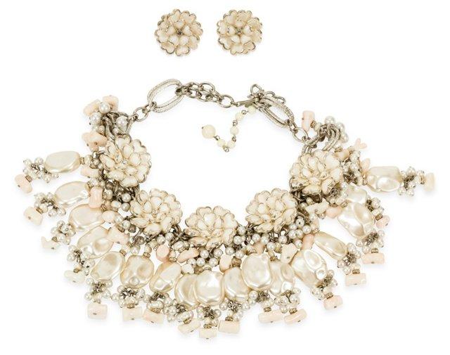Vrba Faux-Pearl Necklace & Earrings