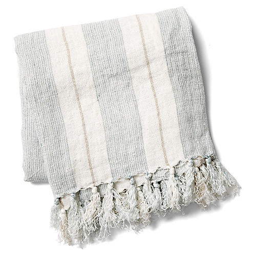 Laguna Linen Throw, Ocean/Natural