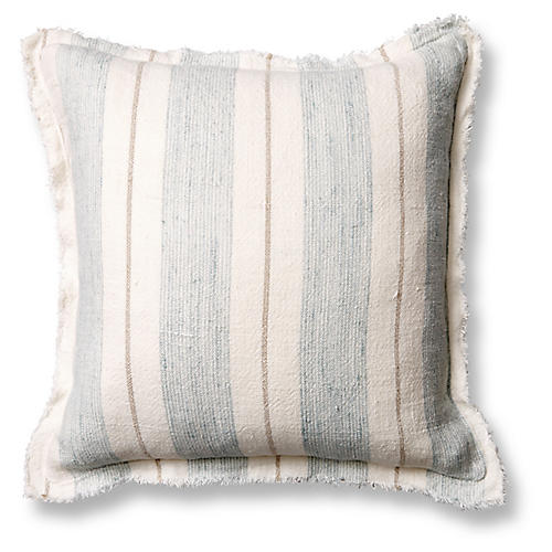 Laguna 20x20 Pillow, Ocean/Natural Linen
