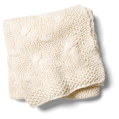 Malibu Wool/Acrylic Throw, Antiqued White