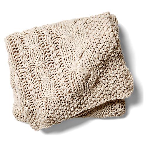 Manhattan Wool/Acrylic Throw, Oyster