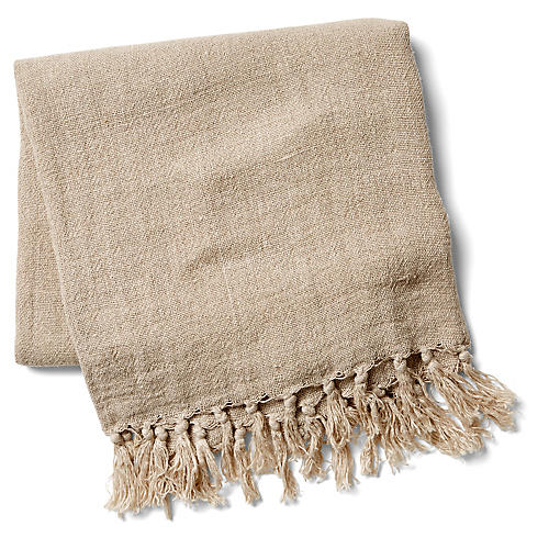 Montauk Linen Throw, Natural