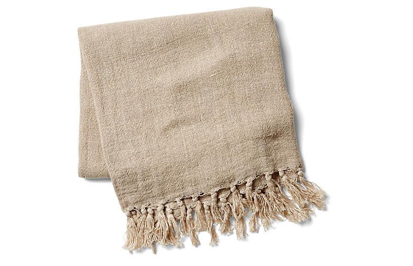 Montauk Linen Throw, Natural