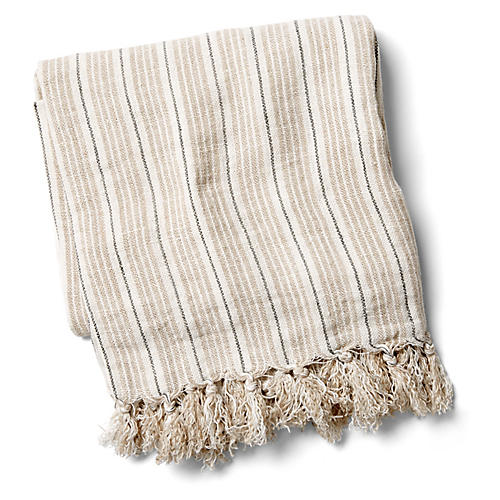 Newport Linen Throw, Natural/Midnight
