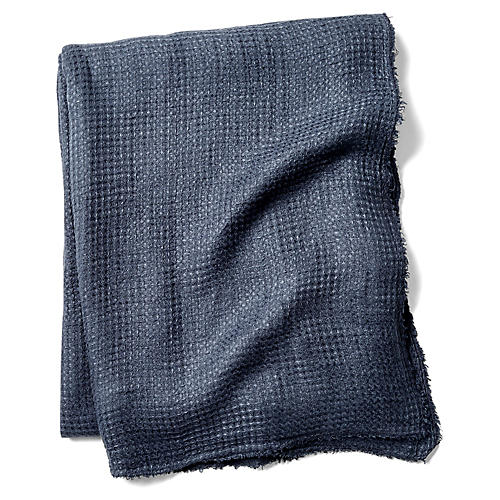 Venice Linen Throw, Navy