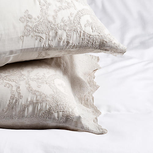 S/2 Grace Pillowcases, Powder Blue