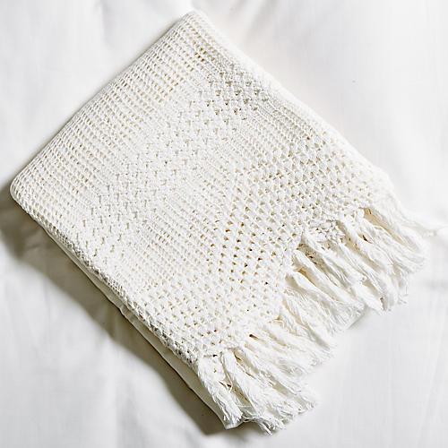 Crochet Flat Sheet, White