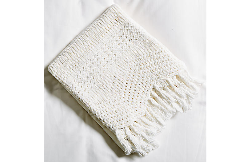 Crochet Flat Sheet, White