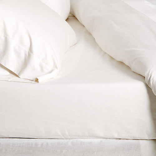 Linen Fitted Sheet, Cream