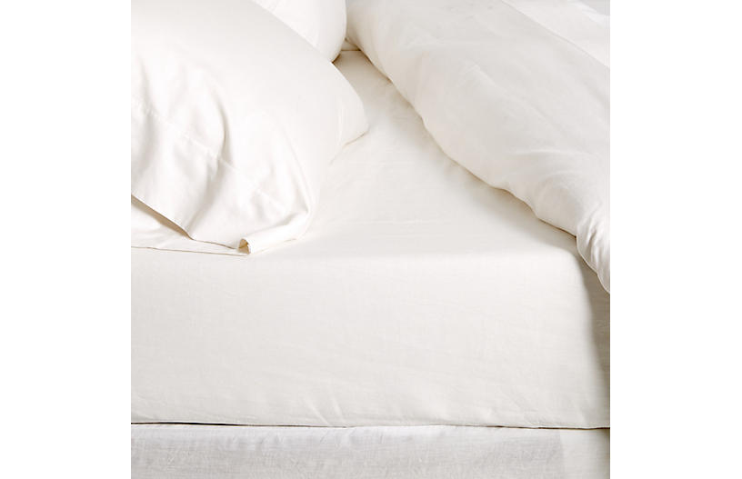 Linen Fitted Sheet, Cream