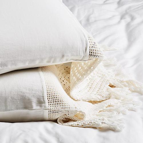 S/2 Crochet Pillowcases, White