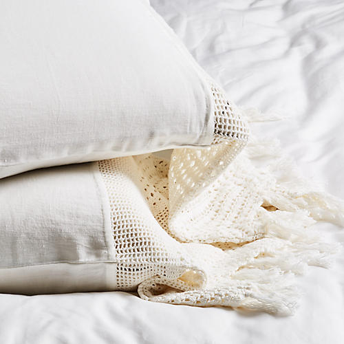 S/2 Crochet Pillowcases, White