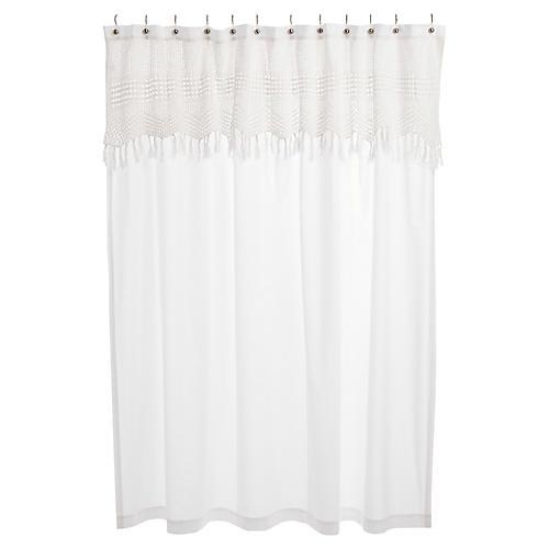 Crochet Shower Curtain, White