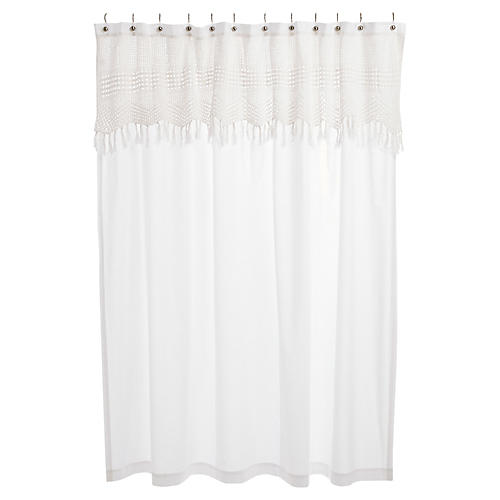 Crochet Shower Curtain, White