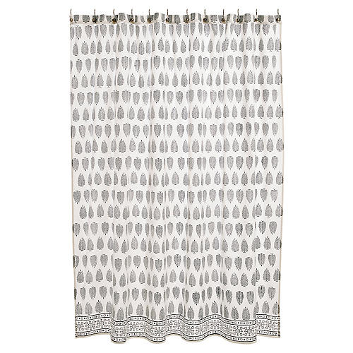 Kiara Shower Curtain, Black/White