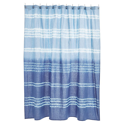 Shaya Shower Curtain, Tie-Dye Blue