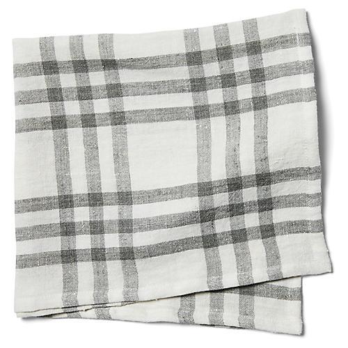 S/4 Bistro Checker Dinner Napkins, Off-White/Gray