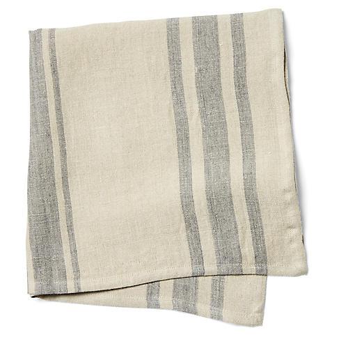 S/4 Bistro Stripe Dinner Napkins, Natural/Gray