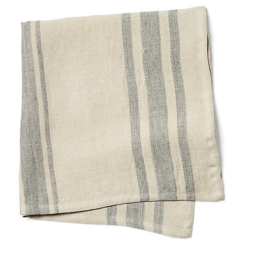 S/4 Bistro Stripe Dinner Napkins, Natural/Gray