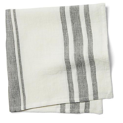 S/4 Bistro Stripe Dinner Napkins, Off-White/Gray