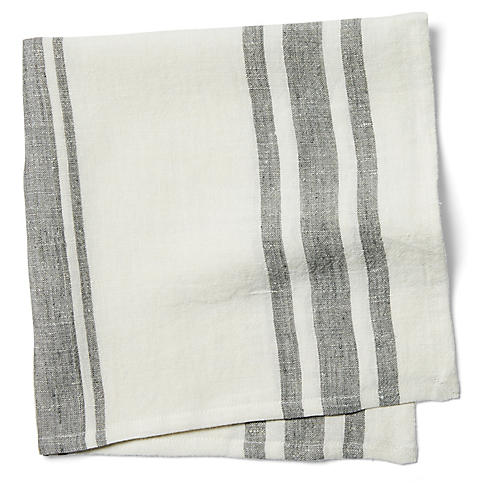 S/4 Bistro Stripe Dinner Napkins, Off-White/Gray