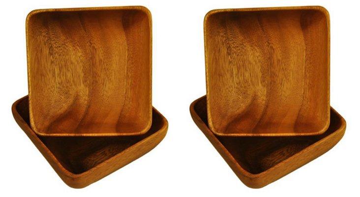 S/4 Acacia Square Bowls w/ Base