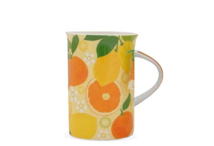 S/4 Fruit Burst Mugs, Yellow