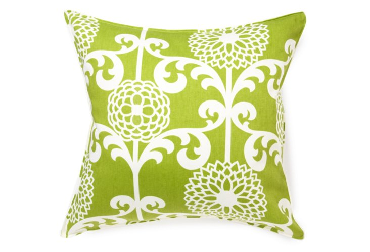 Dandelion 20x20 Pillow, Green/White