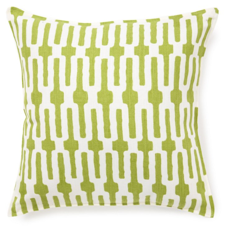 Links 16x16 Cotton Pillow, Green