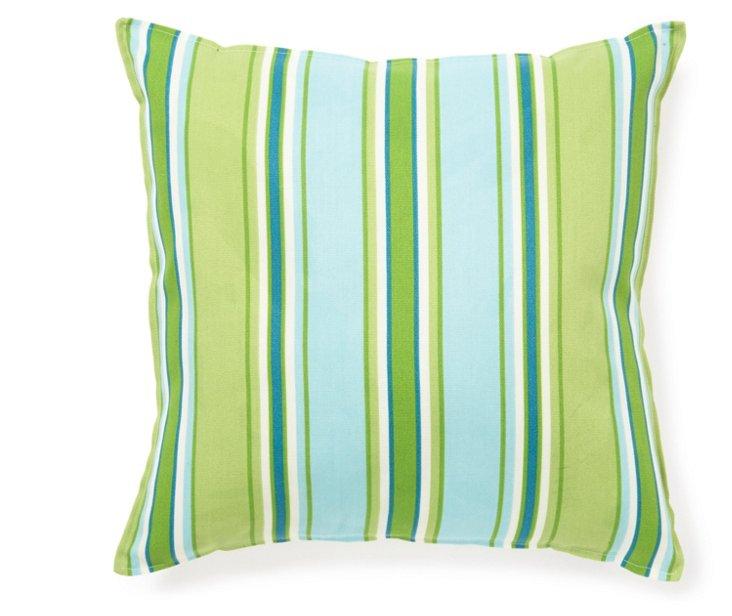 Stripe 16x16 Pillow, Green/Blue