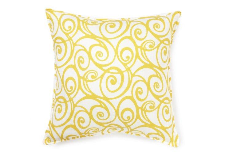 Doodle 16x16 Pillow, Yellow