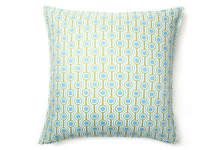 Honeycomb 20x20 Cotton Pillow, Blue