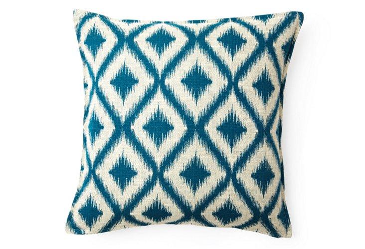 Bazaar 16x16 Pillow, Blue/Natural