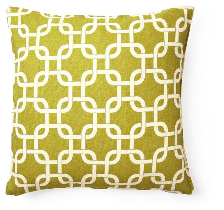 Square Geo 16x16 Cotton Pillow, Green