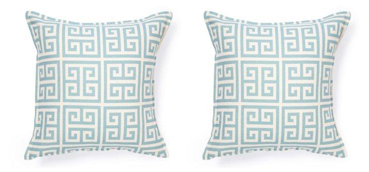 Santorini 16x16 Pillow, Blue/White